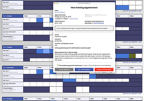 Screenshot of WCONLINE's scheduling interface and appointment form.