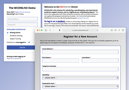 Screenshot of WCONLINE's login page and client report form.
